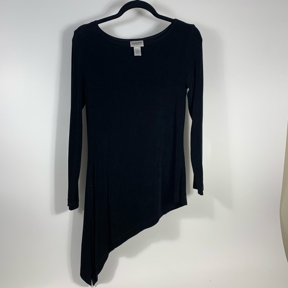 Chicos Top White Travelers 3//4 Sleeve Zip Front Tunic Top Size 1
